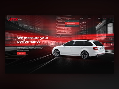 ATX Dyno  landing page red car ux ui dynamic webdesign website
