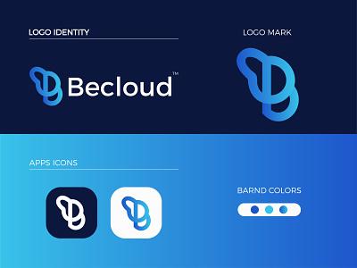 Becloud Modern Logo Design - B + Letter Mark graphic design ui logo letter mark illustrator icon design branding app