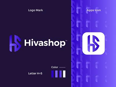Hivashop Modern Logo Design - H + S Letter Mark graphic design ui letter mark illustrator icon design branding app logo
