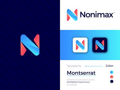 Nonimax Modern Logo Design - N Letter Mark logo design graphic design ui letter mark illustrator icon design branding app logo