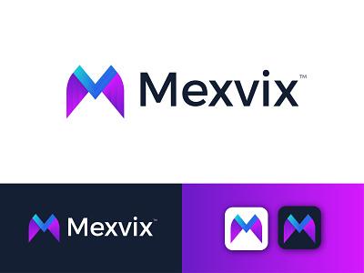 Mexvix Modern Logo Design - M+V Letter Mark ux gradient logo modern logo logodesign modern logo design graphic design ui illustration letter mark illustrator icon design branding app logo