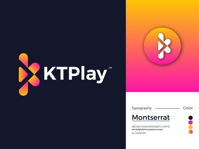 KTPlay Modern Logo Design - K + Letter Mark gradient logo logo design ux illustrator logo letter mark icon design app branding modern logo