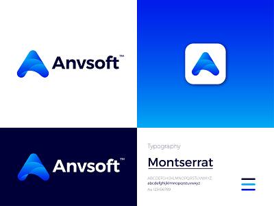 Anvsoft Modern Logo Design - A Letter Mark modern logo ux logo letter mark icon app design branding graphic design ui
