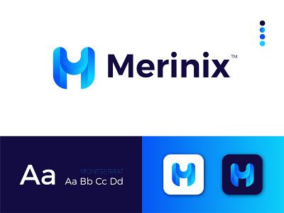 Merinix Modern Logo Design - M + Letter Mark gradient logo ui app letter mark icon design letter logo typography minimal modern logodesign ux illustrator logo design modern logo graphic design branding logo