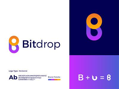 Bitdrop Modern Logo Design - B + Drop Letter Mark modern gradient logo logodesign logo design ux illustrator modern logo ui graphic design app letter mark icon design branding logo