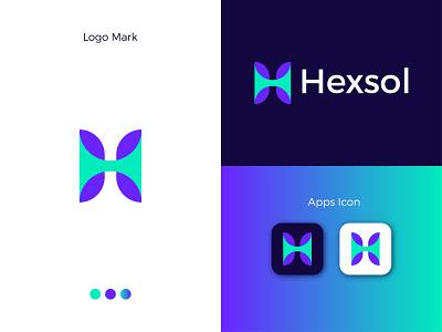 Hexsol Modern Logo Design - H Letter Mark gradient logo minimal modern ux modern logo illustrator logodesign logo design ui graphic design app logo letter mark icon design branding