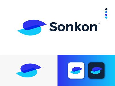 Sonkon Modern Logo Design - S + Letter Mark gradient logo app modern logodesign logo design ux modern logo letter mark icon graphic design design branding logo