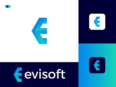 Evisoft Modern Logo Design - E Letter Mark minimal modern logodesign logo design ux illustrator modern logo graphic design app letter mark icon design branding logo