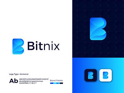 Bitnix Modern Logo Design - B Letter Mark logodesign logo design ux illustrator modern logo ui graphic design app letter mark icon design branding logo