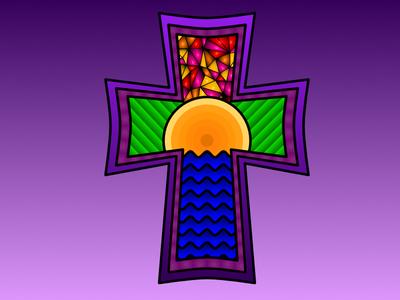 Cross stained glass water sun cross