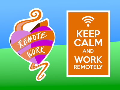 Working Remotely keep calm remote work stickers