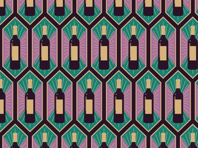 Wine Bottle Art Deco Pattern
