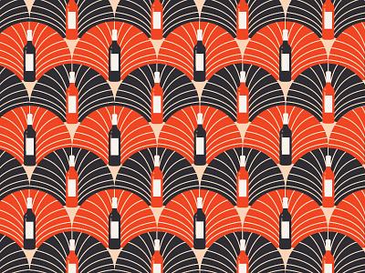 Wine Bottle Art Deco Pattern Pt. II party geometric wallpaper 1920s art deco scallops pattern bottle wine