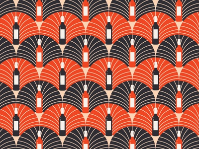 Wine Bottle Art Deco Pattern Pt. II