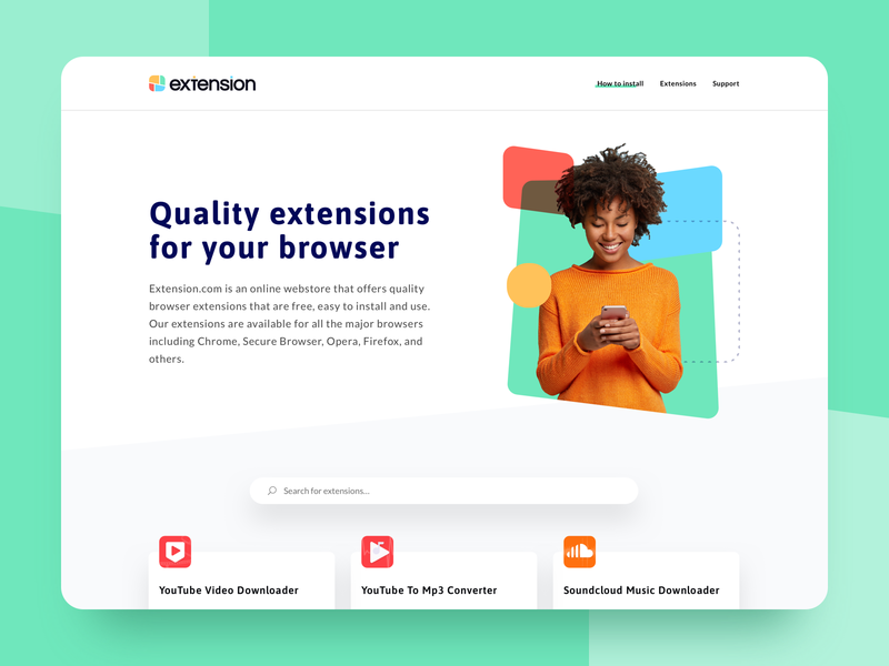 Browser Extension Website colorful navigation page layout playful shapes grid bootstrap responsive ux ui web website design minimal exploration layout website browser webstore store extension
