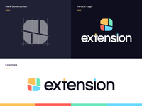 Browser Extension Branding Proposal V.3 design shapes interconnected website tech store geometric logodesign grid browser extension colorful logomark icon mark minimal logotype logo branding design branding