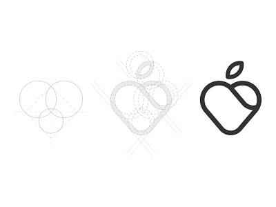 Heart Mark symbol grid nutritionist modern minimal identity illustrator mark brand logo apple heart