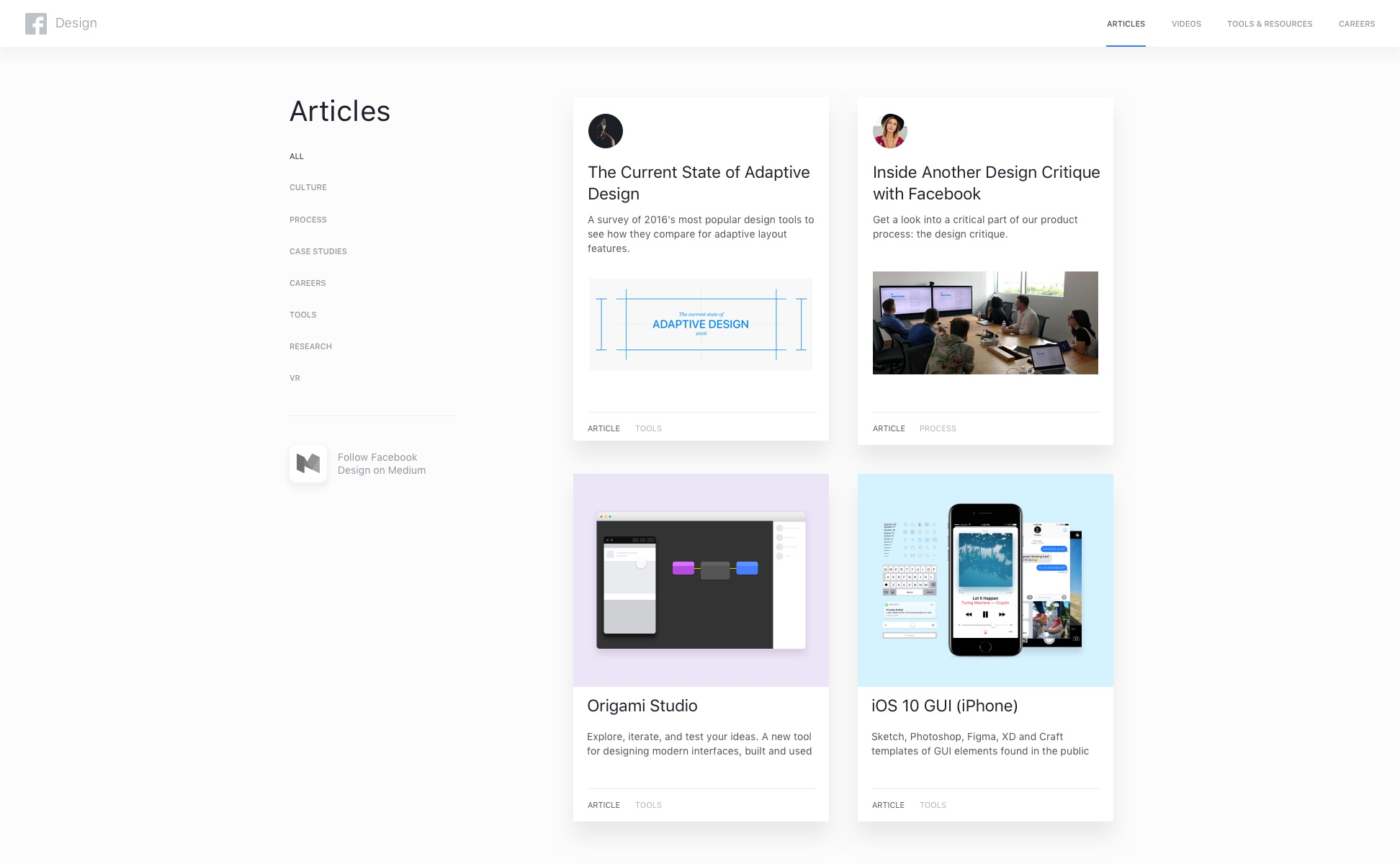 Facebook design articles