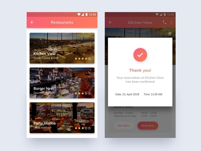 Restaurant App gradient button popup minimal ux ui listing cards interface app mobile android