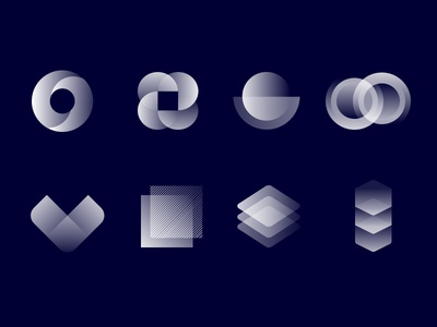 Abstract Shapes components transforming shapes sketch mark symbol abstract icons minimal gradients shapes geometry