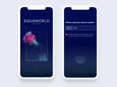 Sea Tours App interface ui ux maps minimal gps clean button cta mobile iphonex ios app