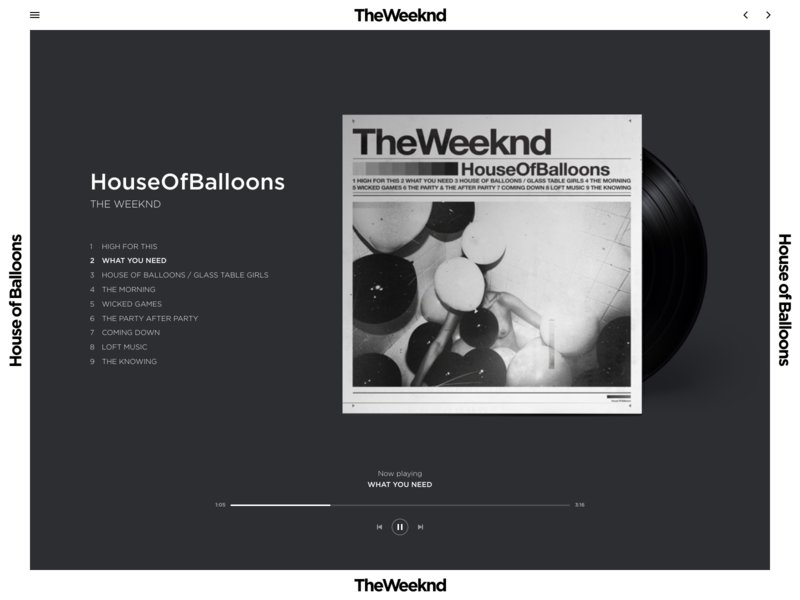 Music Website Exploration homepage web app web exploration website concept web design grid the weeknd typography album music player music landing page design website layout ux clean ui minimal