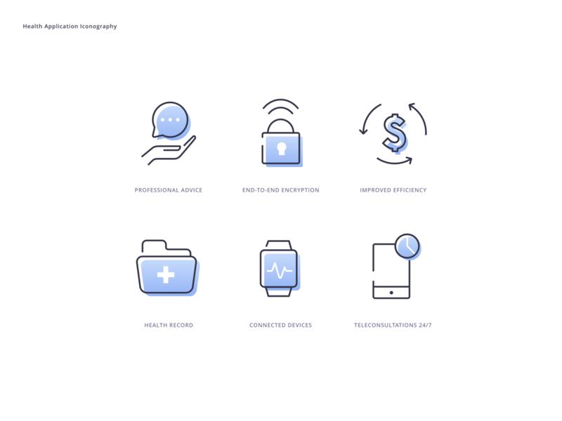 Iconography Exploration teleconsultation healthcare app ux light mode dark mode iconset glyph vector concept ui application illustration minimal design linear gradient iconography exploration icons branding