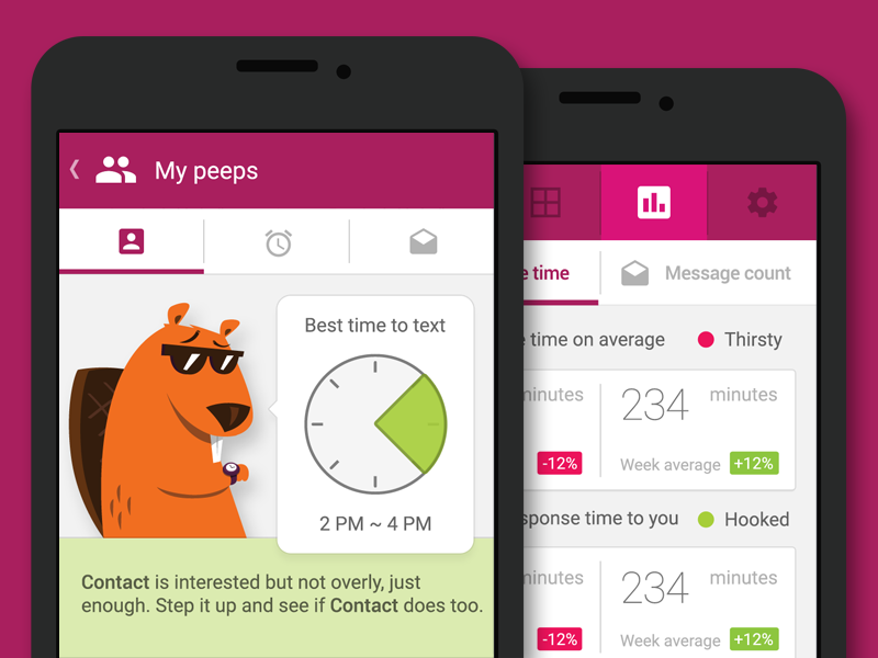 Eager Beaver app android analytics message sms ux ui illustration pet mascot eager beaver