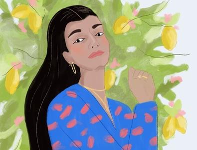 Girl Boss woman portrait lemons color pattern drawing female girl boss procreate illustrator woman