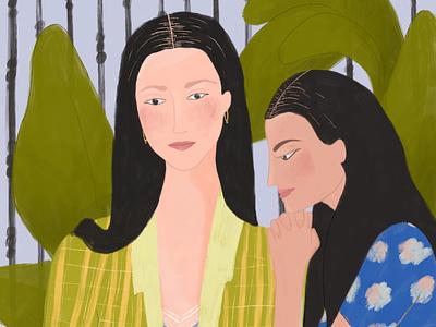 Sisters human drawing girl character sketch draw fashion pattern woman women sisters procreate illustrator illustration