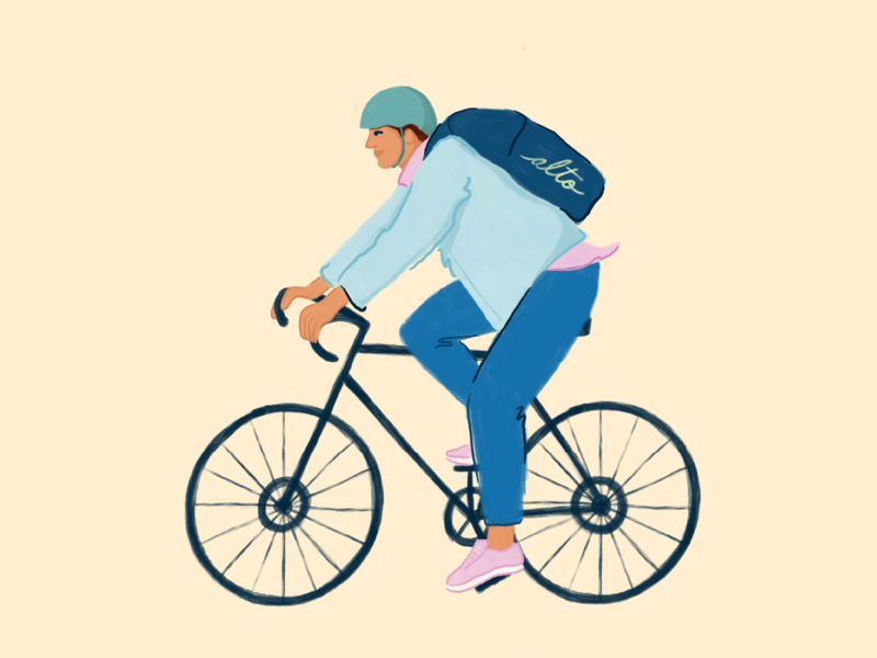 Alto Courier delivery courier man bicycle biker bike procreate character illustration illustrator pharmacy alto