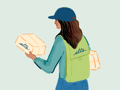 Delivery design courier delivery human girl pharmacy alto illustrator procreate woman character illustration