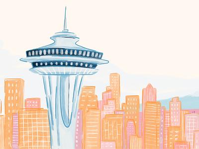 Seattle drawing design cityscape needle city seattle pharmacy alto illustrator procreate illustration