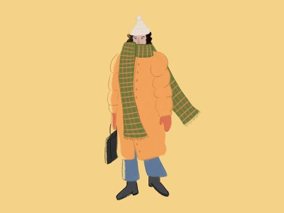 Winter Fashion cold coat winter girl human character woman procreate illustration illustrator