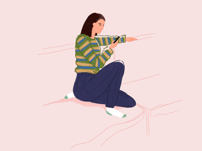 Lounge lounge girl drawing design illustrator woman procreate character illustration