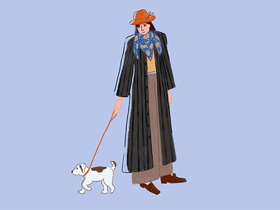 Stroll walk dog illustrator woman procreate character illustration