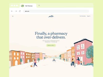 Alto Pharmacy rebrand redesign buildings town people alto procreate illustration pharmacy