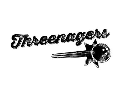 """Threenagers"" Bowling T-Shirt bowling typography rough script bowling ball"