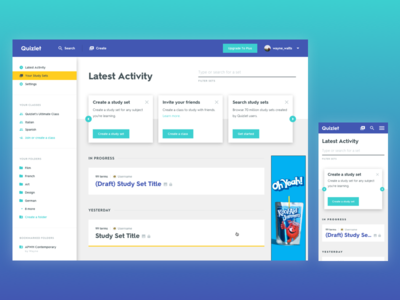 Quizlet Redesign - Activity Feed