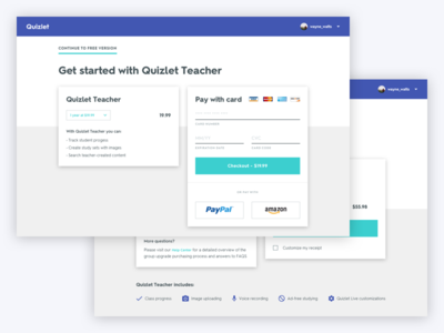 Quizlet Redesign - Checkout