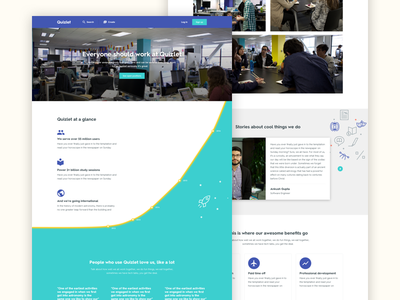 Quizlet - Careers Page Explorations iterations graphics data visualization data marketing jobs careers responsive web redesign