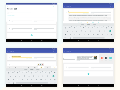 Quizlet - Android Tablet - Set Creation redesign create editor compose edit text list education content tablet android material design