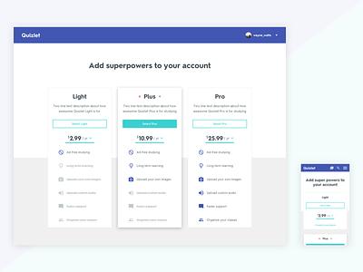 Quizlet - Product Pages mobile responsive web comparison purchase products subscription