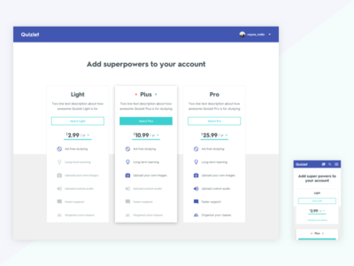 Quizlet - Product Pages