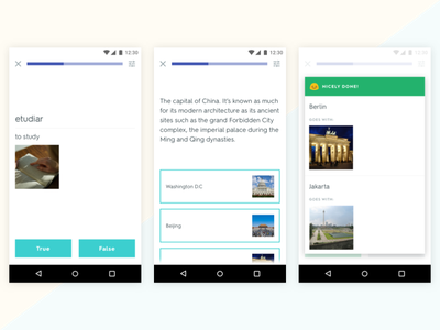 Quizlet Learn - Android teaching flashcards education learning material design android mobile