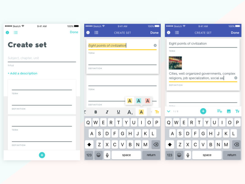 Quizlet - iOS - Set Creation by Harry Momand for Quizlet on Dribbble