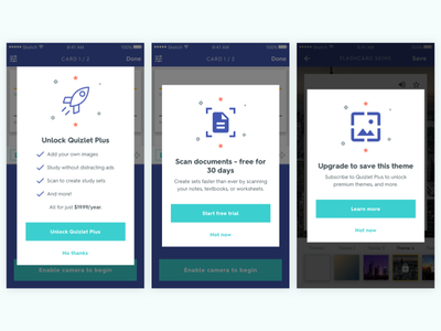 Quizlet iOS - Feature Modals feature upgrade mobile ios monetization education marketing upsell modal