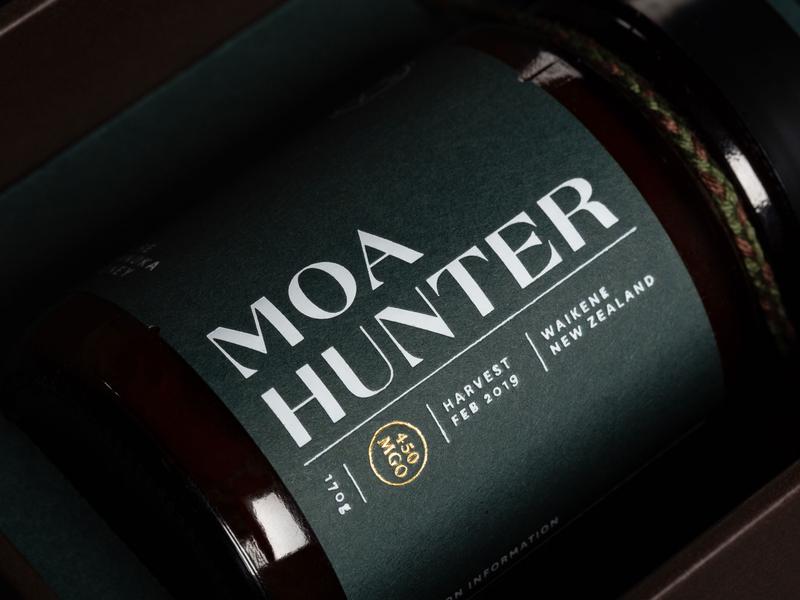Moa Hunter Manuka Honey manuka label honey design branding brand and identity packaging