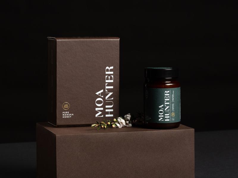 Moa Hunter Manuka Honey manuka honey honey packaging design packaging branding brand and identity