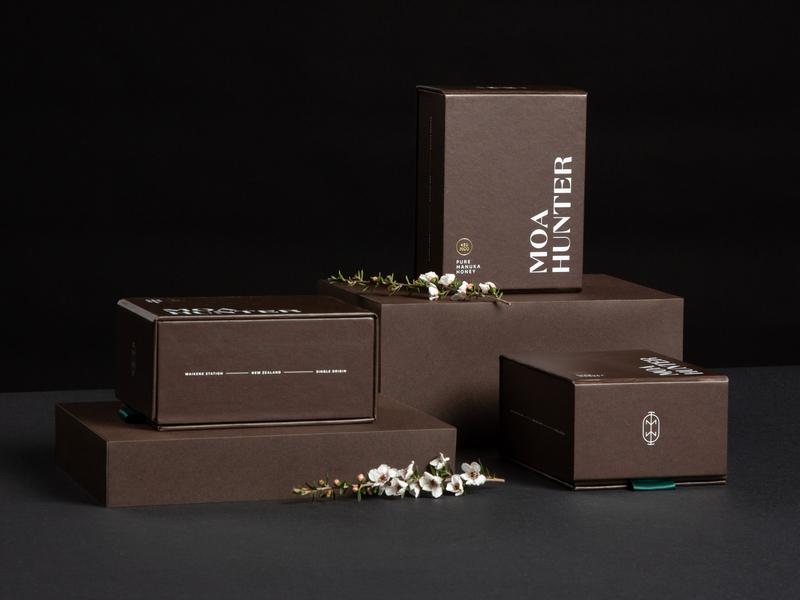 Moa Hunter Manuka Honey box manuka honey package brand identity branding honey packagingdesign packaging
